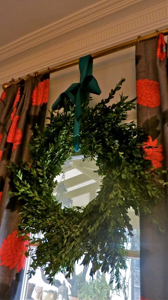 Boxwood Wreath In Dining Room