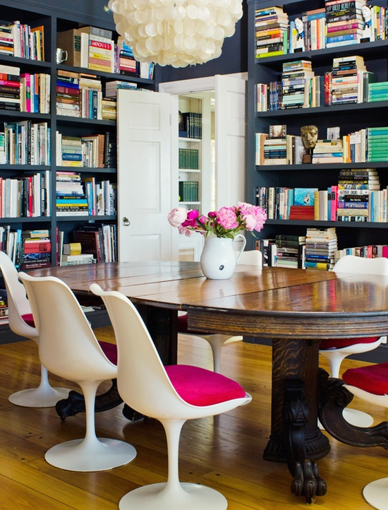 Hot Pink Chairs, Blue Book Cases