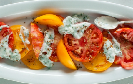Heirloom Tomato with Yogurt Basil Drizzle