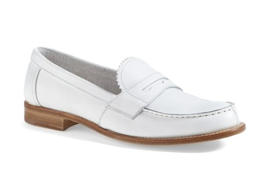Prada White Penny Loafers