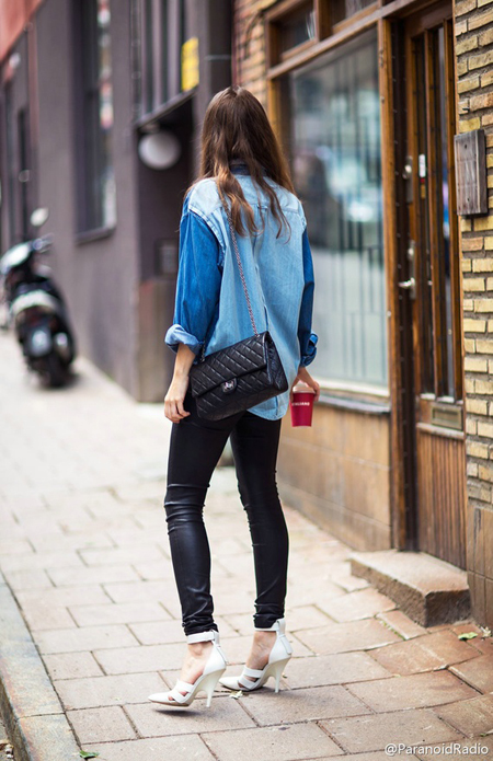 black-leather-pants-denim-shirt-white-sandals-chanel-bag